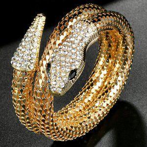 Golden SNAKE Charm Rhinestone Wraparound Bracelet